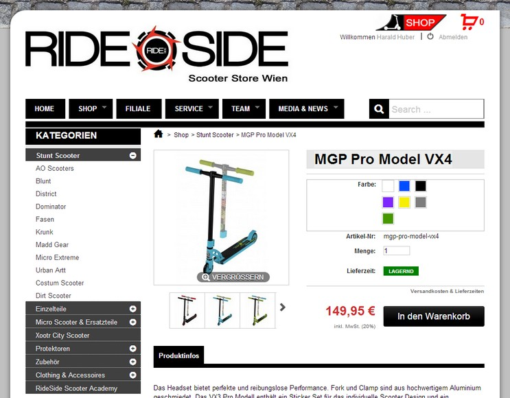 www.rideside.at - Detailseite